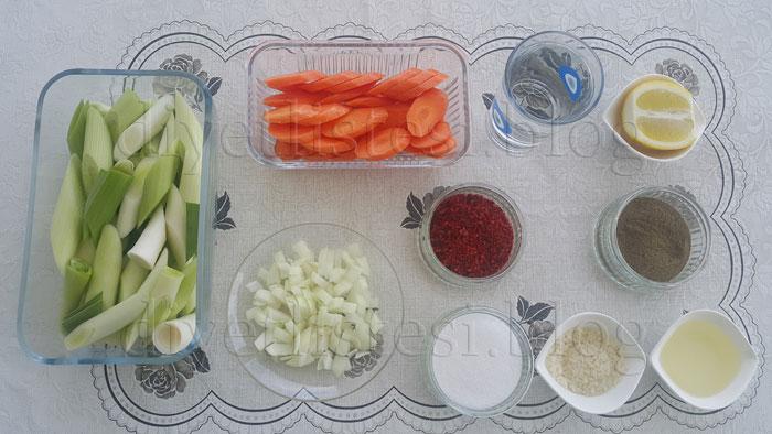 Pırasa Yemeği için Gerekli malzemeler