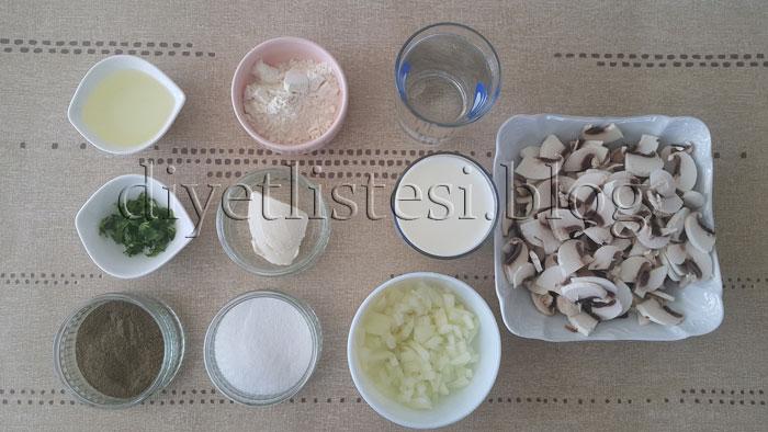 Sütlü Mantar Çorbası için Gerekli Malzemeler